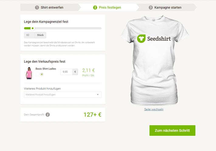 T-Shirt Verkaufsziel und Preis festlegen